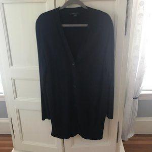 Ann Taylor Navy Blue Knee Length Cardigan XL